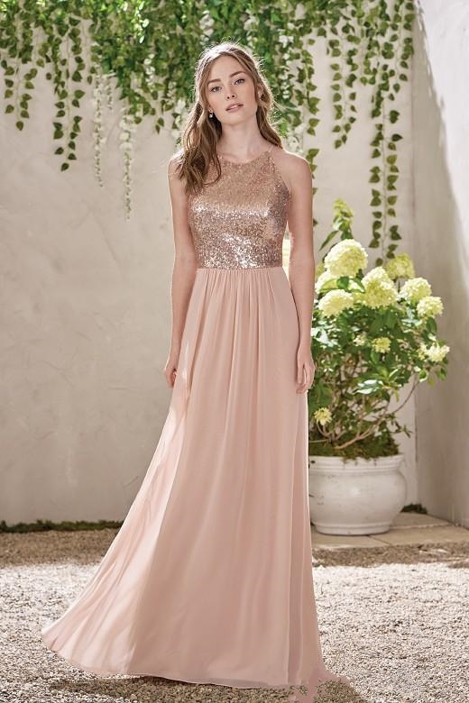 Vestidos Baratos de oro rosa Línea A sin respaldo espagueti lentejuelas chifón largo para la playa vestido de boda vestido de fiesta largo