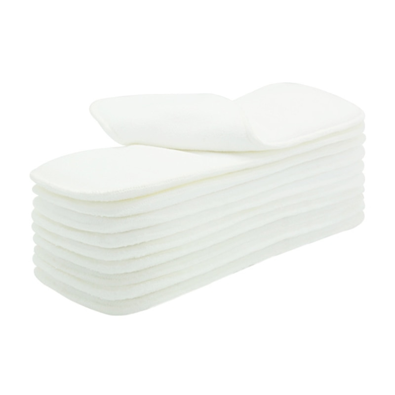10pcs 3 Layers Microfiber Cloth Diaper Inserts Reusable Super Absorbent Breathable Liner Nappy for Baby Diapers
