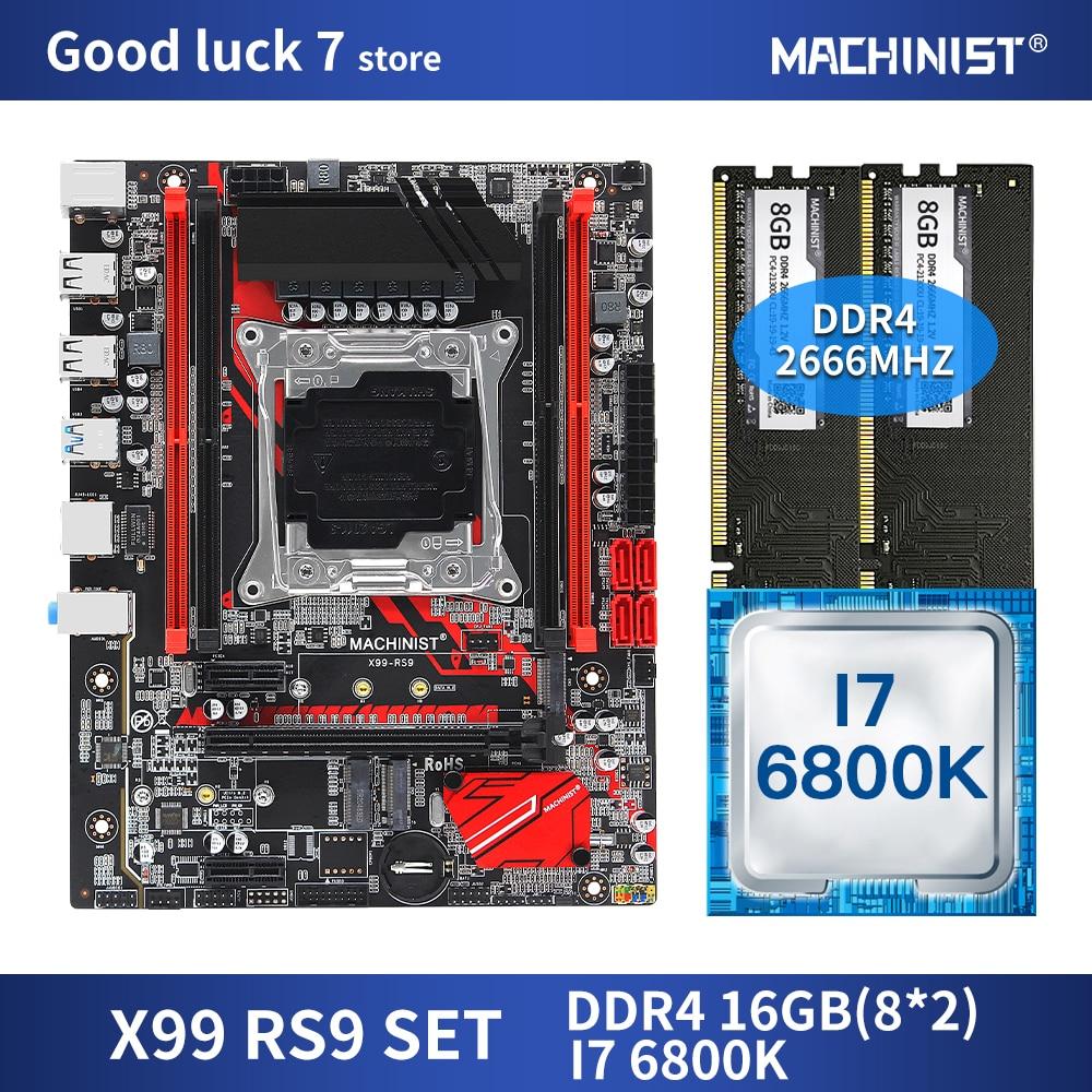 X99 اللوحة LGA 2011-3 مجموعة عدة مع إنتل كور I7-6800K المعالج DDR4 16 جيجابايت (2*8 جيجابايت) 2666 ميجا هرتز ذاكرة عشوائية M-ATX X99-RS9