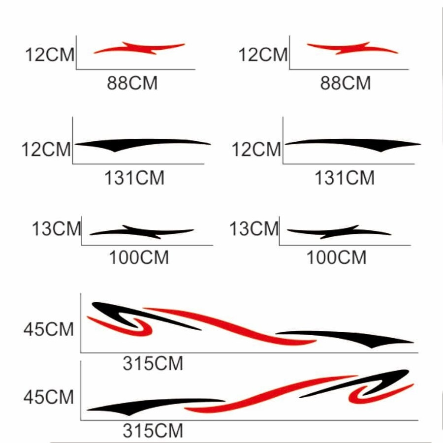 Hot Sell Two Side RV Stripes Graphics Decals Motorhome Stripes Camper Sticker KK Vinyl Accessories for JDM SUV RV VAN Decals PVC