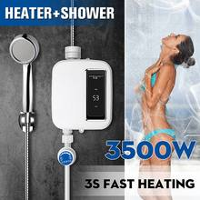 Electric Tankless 3500W Mini Instant Hot Water Heater Kitchen Faucet Tap Heating Stainless Steel Con
