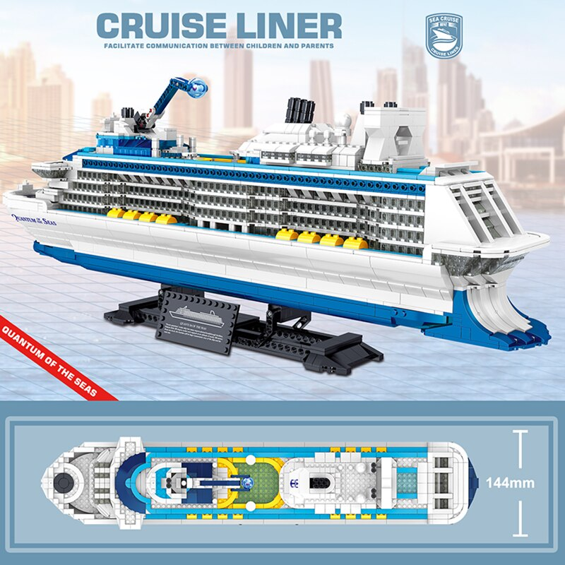 2428PCS Technology Series Luxury Cruise Ship Puzzle Assembled Building Block Simulation Model Toys For Adults Childrens Gifts