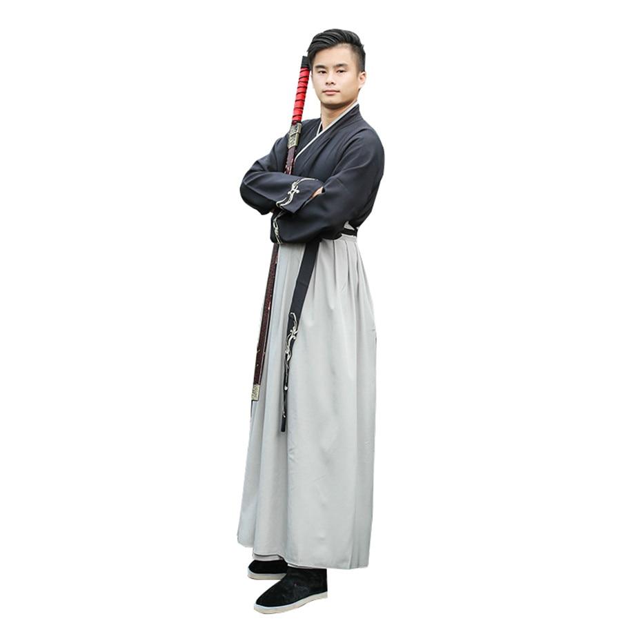 Черный древней китайской династии Костюмы воинов для мужчин мечей одежда платье-ханьфу классическая одежда для мужчин