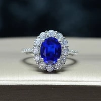knriquen 100 sterling silver created moissanite royal blue sapphire gemstone wedding engagement party womens ring fine jewelry
