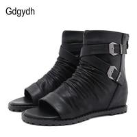 gdgydh 2021 spring european retro women ankle boots open toe increasing heels metal buckles back zipper wedges ladies shoes