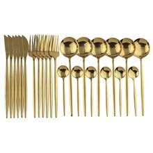 24pcs Gold Dinnerware Set 18/10 Stainless Steel Tableware Set Knife Fork Spoon Flatware Set Dishwasher Safe Cutlery Set Gift Box