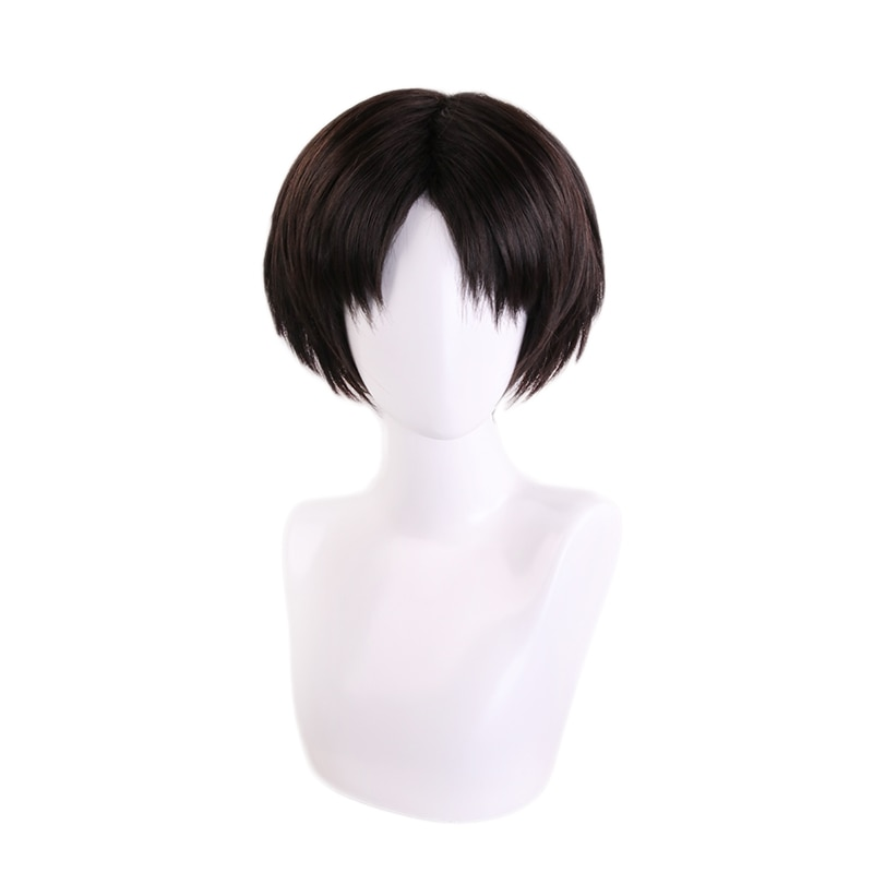 Peluca corta negra marrón para Cosplay disfraz resistente al calor pelucas para fiesta de Halloween