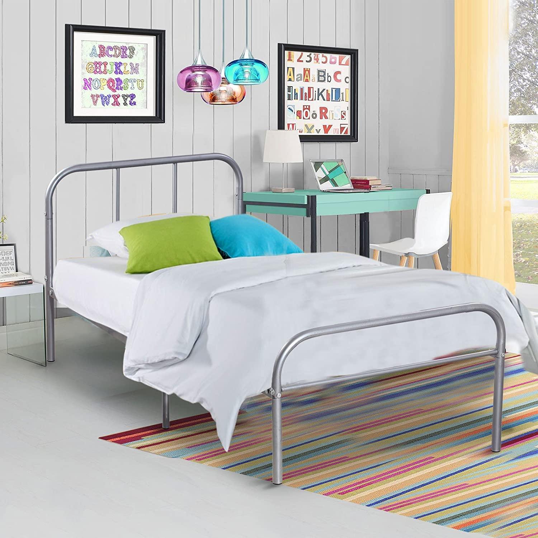 Двухслойная металлическая рама для кровати, с изголовьем кровати и ножками