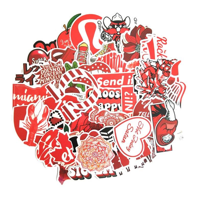 50 Uds de pegatinas de chica Vsco de estilo INS rojo de dibujos animados para portátil, Moto, monopatín, equipaje, nevera, portátil, pegatina de juguete F5