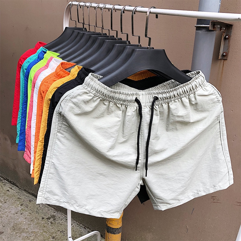 Мужские летние шорты размера плюс, Повседневная однотонная мужская одежда, свободные пляжные шорты, мужские шорты на шнуровке, повседневны...