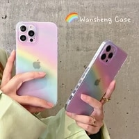colorful pink rainbow transparent phone case for iphone 13 12 11 pro max mini x xs xr 7 8 plus se fashion soft shockproof cover