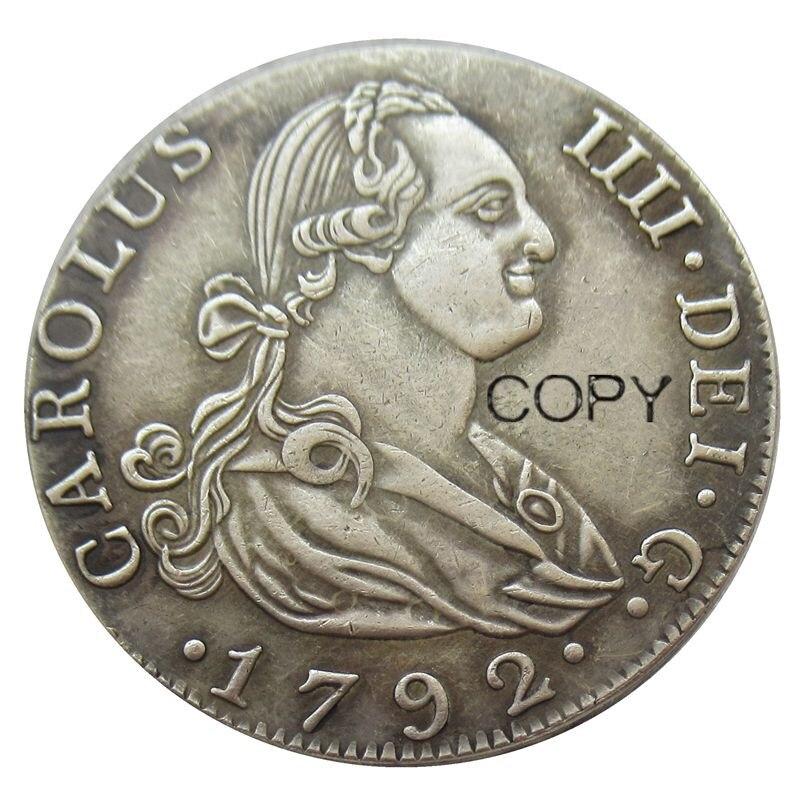 Spagna Monete 4 Reales-Carlos IV 1792 CAROLUS IIII. DEI. G. Placcato argento Coin COPIA