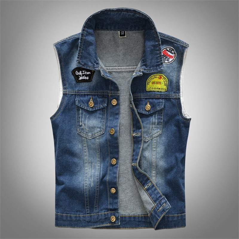Autumn ripped denim Vest clothes motorcycle jacket youth Korean couple wear student thin fashion jacket Slim blue male spring