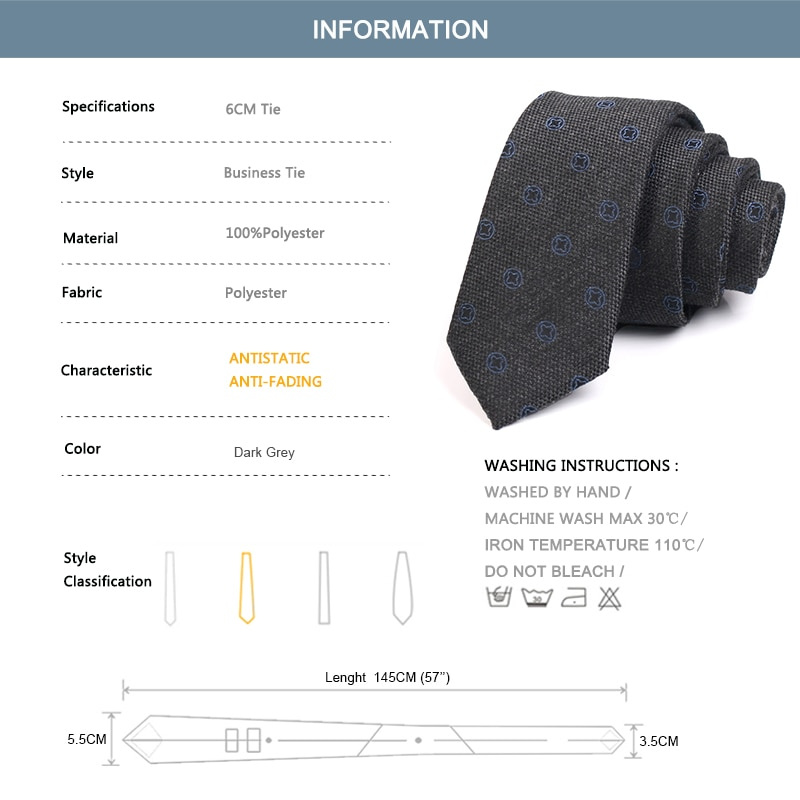 2020 New Mens 6CM Dark Grey Ties High Quality Fashion Formal Neck Tie For Men Business Suit Work Necktie With Gift Box