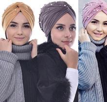 Femmes torsion Turban casquette musulmane perles Hijab écharpe turbante mujer inde tête foulard Stretch Bonnet Bonnet chimio turbans