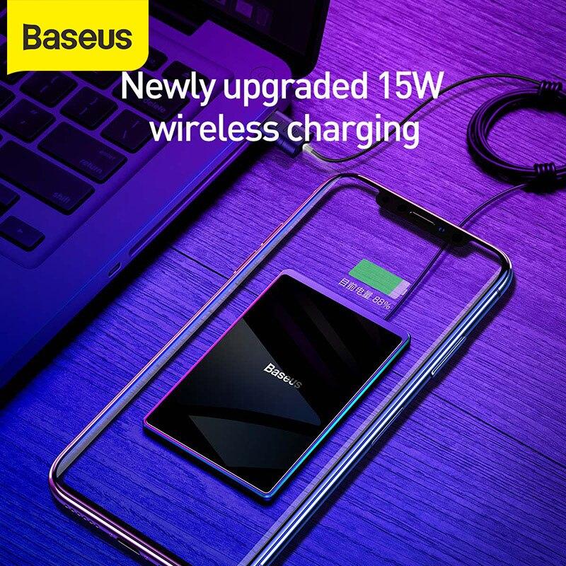 Baseus 15 واط 0.3 مللي متر رقيقة جدا تشى اللاسلكية شاحن آيفون 11 مع USB كابل شاحن سريع مقاوم للماء لوحة شحن الهاتف المحمول