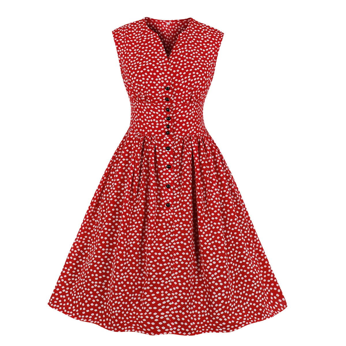 Odzież OWLPRINCESS 2020 lato nowy mały wzór kwiatowy elegancka sukienka kobiety na guziki, bez rękawów sukienka