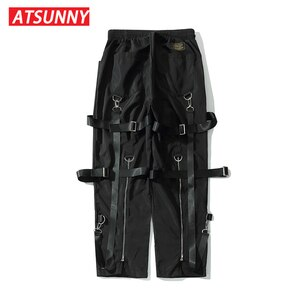ATSUNNY Ribbons Cargo Pants Pocket Casual Streetwear Harajuku Sweatpants Male Hip Hop Trousers