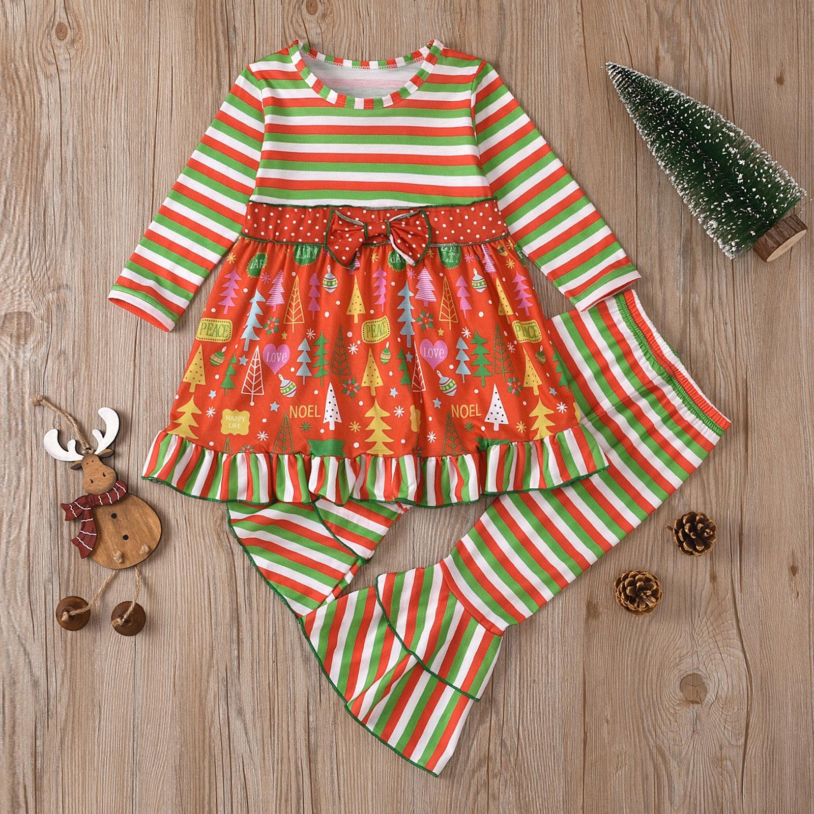 Ropa navideña para Niña, Tops con estampado de dibujos animados + pantalones...