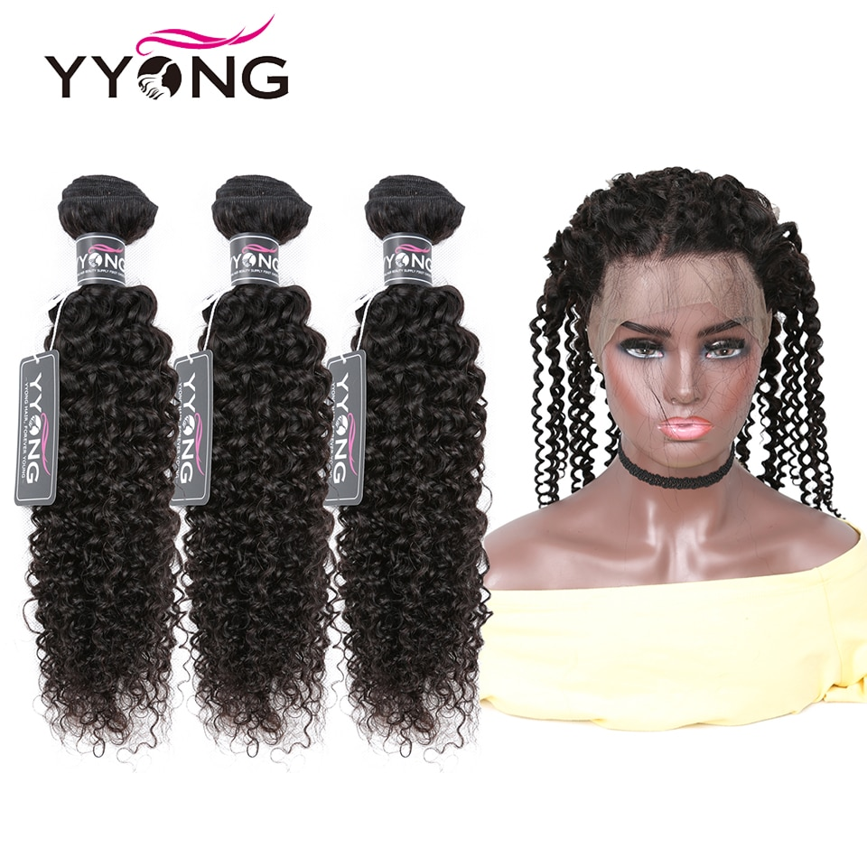 YYong Kinky Curly Bundles With 360 Frontal 4/5pcs Lot Remy Brazilian Human Hair Lace Closures Can Be Colored