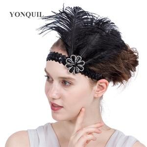 National Indian Feather Headwear Rhinestone Native War Bonnet Headdress Nice Ethnic Ostrich Feather Fascinators Hair Accessories