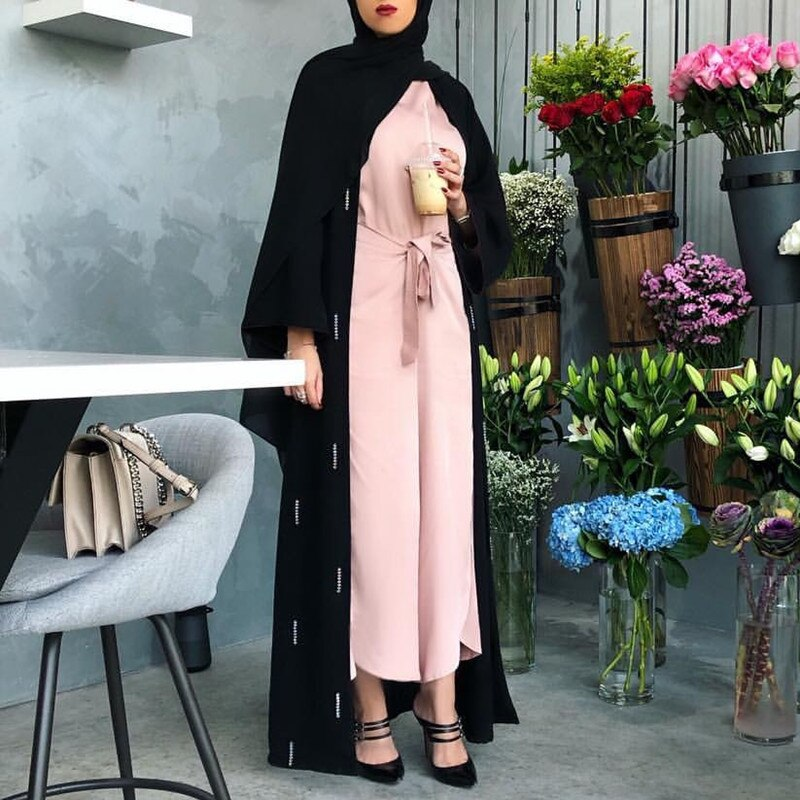Moda muçulmana abrir abaya femme kaftans vestidos turcos dubai maxi vestido muçulmano plus size abaya islâmica roupas femininas vestidos