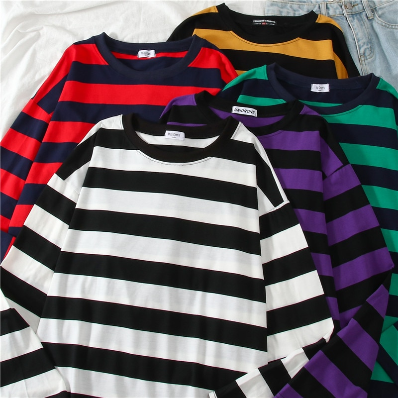 Fives Colors Women Cotton Purple Striped Tops Slim Fit T Shirt Harajuku Tshirt Summer Long Sleeve Korean Feminina