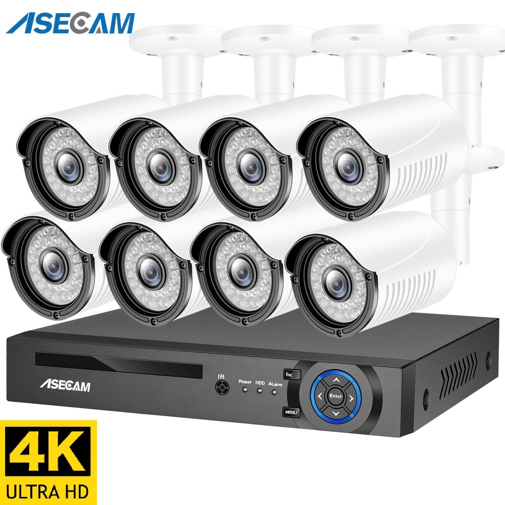 4K الترا HD 8MP H.265 POE NVR نظام الأمن عدة في الهواء الطلق كاميرا IP P2P الصوت والفيديو سجل كاميرا تلفزيونات الدوائر المغلقة مجموعة