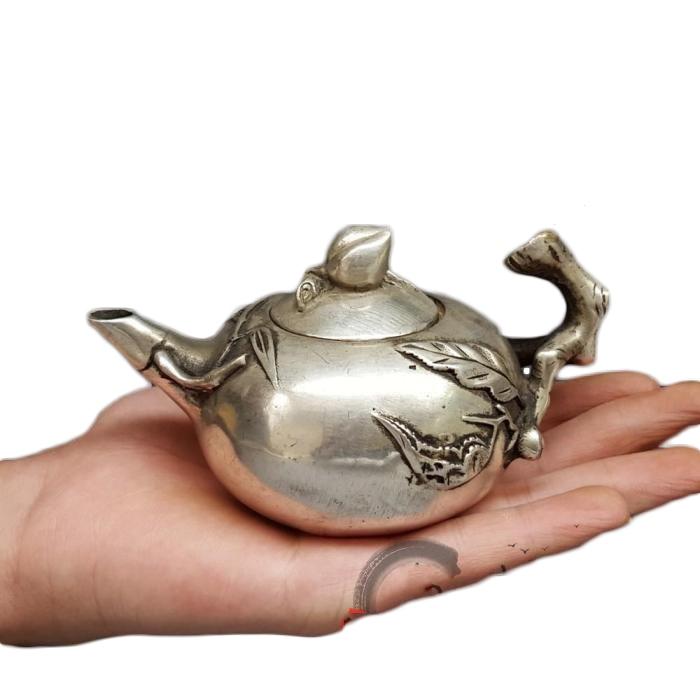 LAOJUNLU Imitation Antique Bronze White Copper Kettle Teapot Decoration Peach Shaped Pot