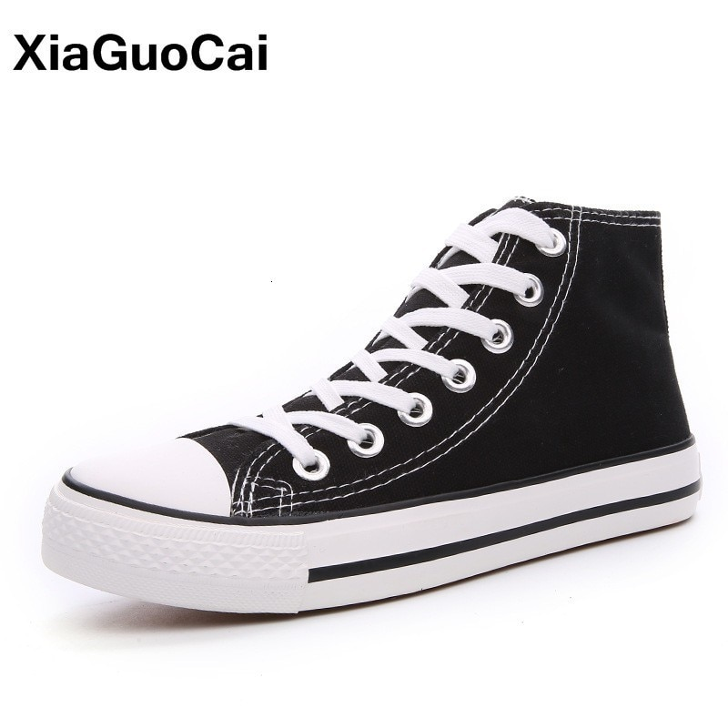AliExpress - Woman Casual Shoes Flat Female Canvas Girl Student Denim Footwear Plimsolls Unisex High Top Plus Size Lovers Vulcanized Shoes