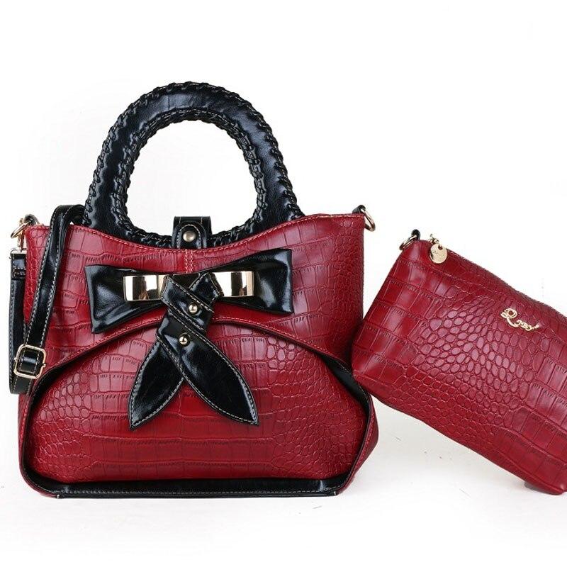 2 قطعة حقيبة المرأة 2 قطعة مجموعة الموضة بولي Ladies السيدات حقيبة يد حقائب العلامة التجارية الشهيرة 2021 مصمم حقائب عالية الجودة مصمم حقائب