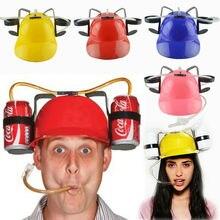Tembel lounged hasır şapka bira doğum günü partisi serin benzersiz oyuncak pervane tutucu Guzzler kask içme bira kola kola Soda madenci şapka