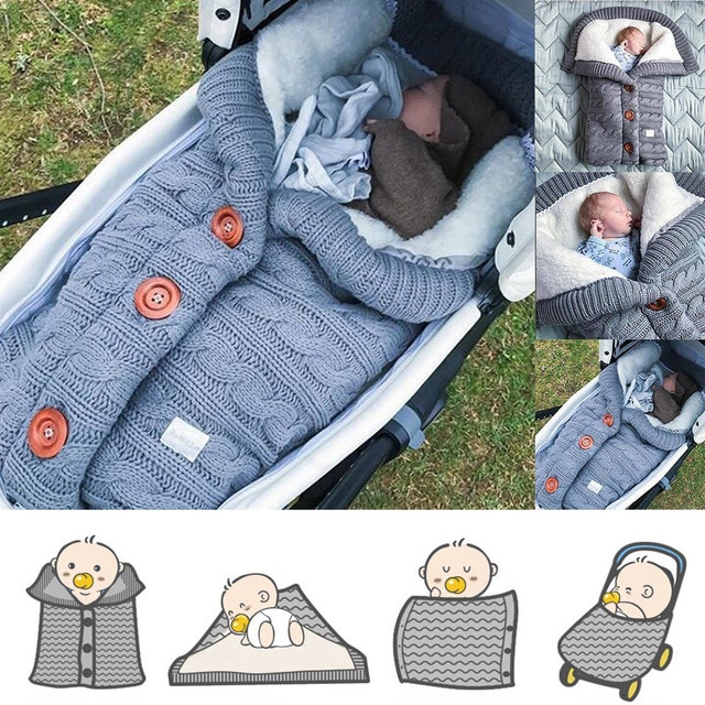 Newborn Baby Winter Warm Sleeping Bag Infant Button Knit Swaddle Wrap Swaddling Stroller Wrap Toddler Blanket baby Sleeping Bag