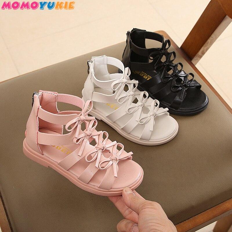 Новинка 2021, летние детские сандалии для девочек из натуральной кожи, модные детские сандалии с высоким ажурным носком для девочек 21 37|Сандалии| | АлиЭкспресс