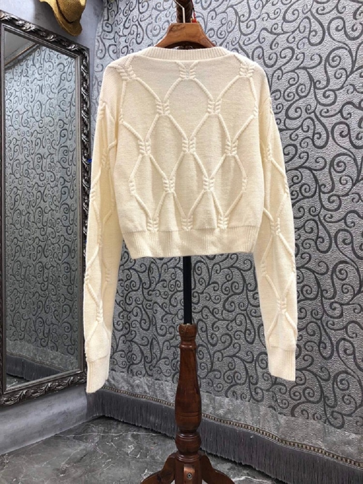 High Quality Sweaters 2021 Autumn Winter Tops Women V-Neck Blue Bow Deco Long Sleeve Casual Beige Jumpers Ladies Pullovers enlarge