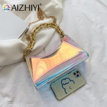 Retro Laser Transparent Thick Chain Design Luxury Hand Bag Female Travel Crossbody Bag Women Small H
