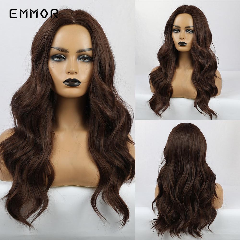 Emmor, parte media, largo oscuro, pelucas onduladas marrones, peluca sintética Natural para mujeres negras, pelo de Cosplay resistente al calor