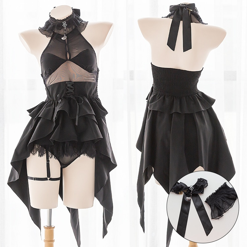Купить с кэшбэком OJBK Anime Cosplay Costumes Maid Temptation High Quality Cute Wedding Evil Backless Dress Black Lace Sexy Lingerie for Women