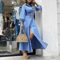 s women dress vonda solid robe ladys puff sleeve lapel collar button up bohemian vestido asymmetric dresses