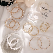 IPARAM Trend Pearl Hoop Earrings 2020 Fashion Gold Geometric Wedding Women Earrings Romantic Charm Brincos Jewelry Gifts
