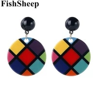 fishsheep new design colorful grids pattern acrylic drop earrings geometric round big dangle earring 2020 women fashion jewelry