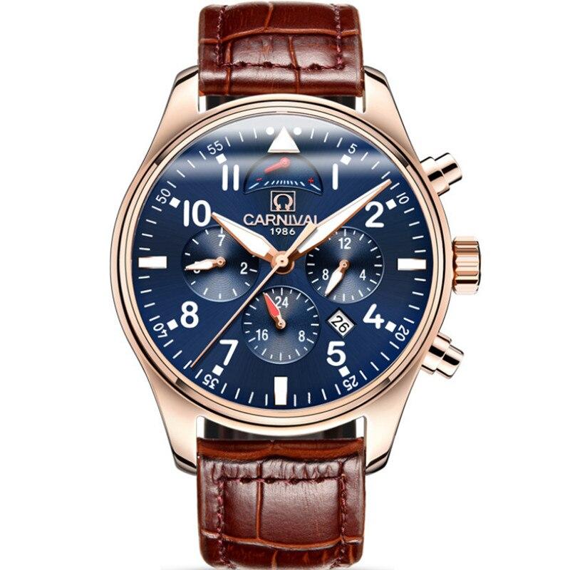 ساعة يد ميكانيكية للرجال ، ذاتية الملء ، ماركة أصلية ، كرنفال ، أوتوماتيكية ، عمل ، 3 عيون ، تقويم ، تناظري