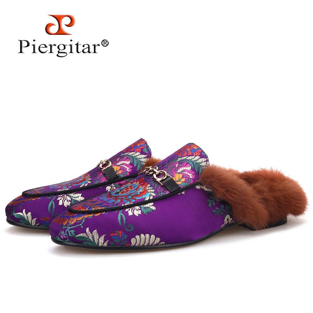 Piergtar-شبشب رجالي من الحرير الأرجواني ، حذاء مفتوح مصنوع يدويًا ، بظهر فرو الأرانب ، عصري ، للحفلات والزفاف ، مقاس كبير ، 2020
