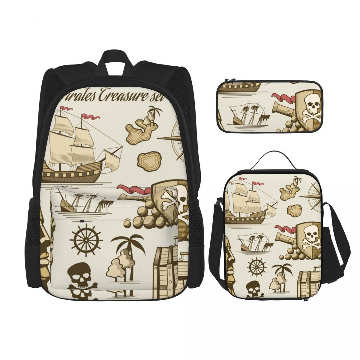 3 مجموعة على ظهره 2021 القراصنة مدفع الجمجمة البحر السفينة على ظهره حقائب كتف حقيبة مدرسية Mochilas حقيبة ظهر الطالب
