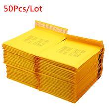 50 PCS/Lot jaune blanc Kraft impression papier enveloppes à bulles sacs taille différente Mailers rembourré expédition enveloppe sacs avec bulle