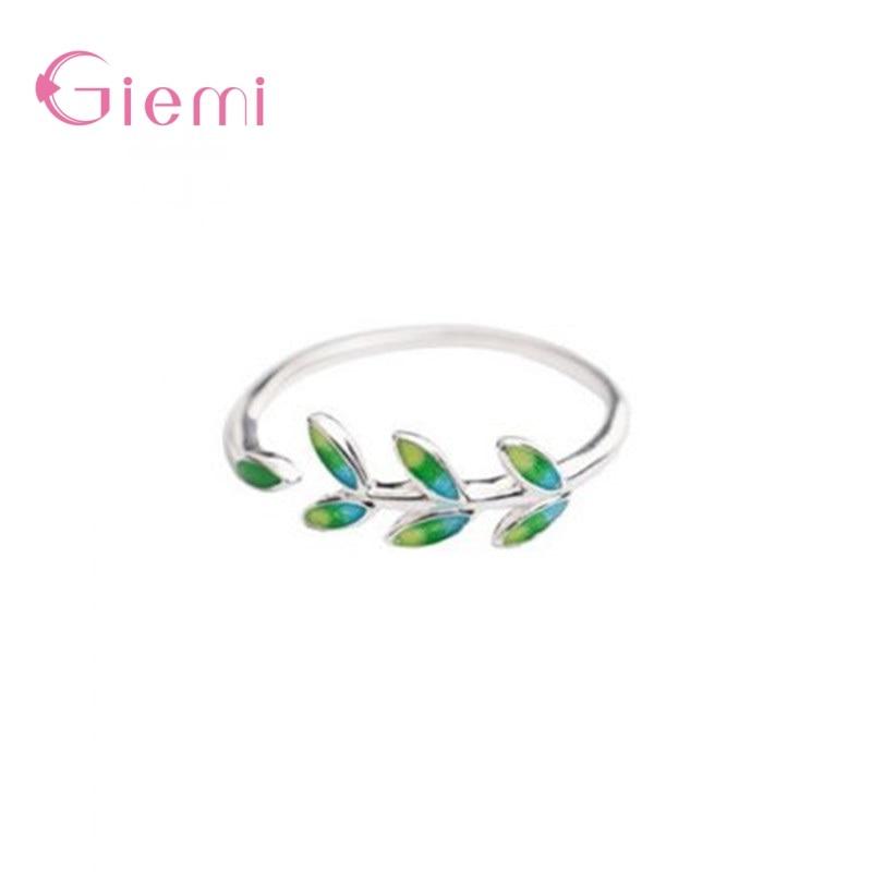 925-стерлингового-серебра-зеленые-листья-Регулируемые-кольца-для-женщин-и-девочек-вечерние-подарок-для-лучшего-друга-модное-ювелирное-изде