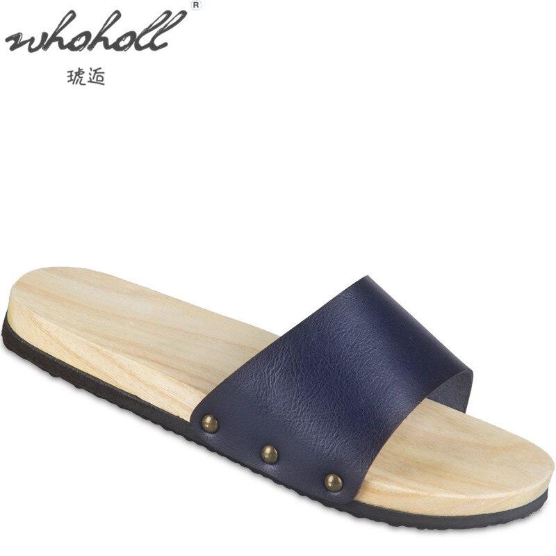 WHOHOLL Geta الرجال الصلبة خشبية قباقيب تنفس النعال اليومية حذاء الشاطئ رجل إمرأة حجم كبير 47 48 الأحذية المنزلية