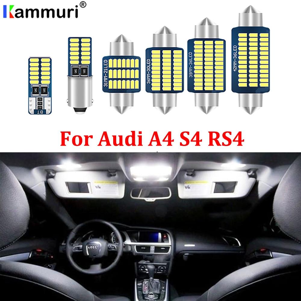 KAMMURI blanco perfecto Canbus sin errores bombilla LED interior Mapa de cúpula Kit de luz aérea para Audi A4 S4 RS4 B5 B6 B7 B8 (1996-2015)
