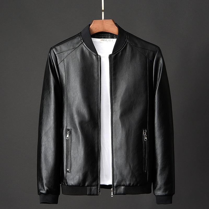 Кожаная куртка-бомбер, мотоциклетная Мужская куртка, байкерская куртка из искусственной кожи, мужская куртка-бомбер, модная трендовая мужс...