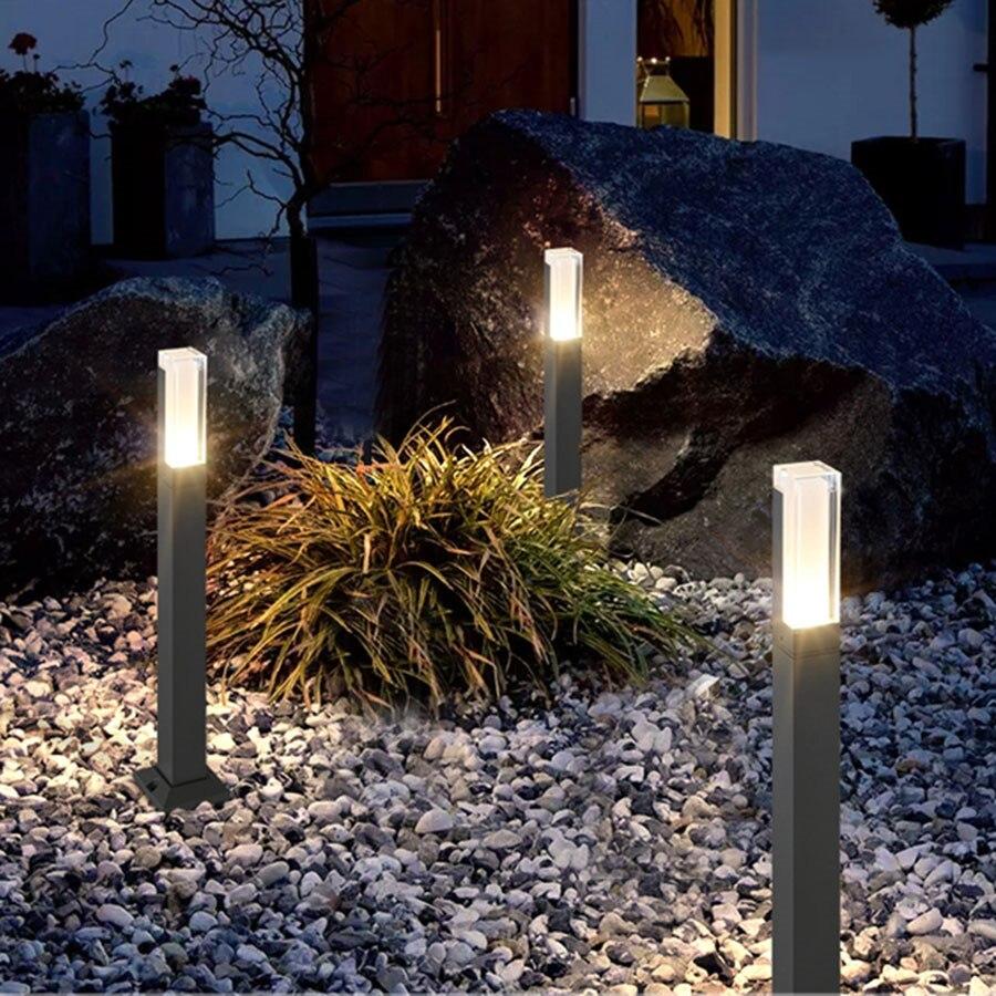 Thrisdar إضاءة مقاومة للماء حديقة مصباح حديقة مصباح العمود الألومنيوم الحديثة في الهواء الطلق فناء فيلا المشهد أضواء الحديقة Bollards